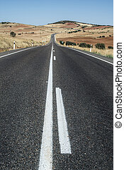 Long asphalt road.