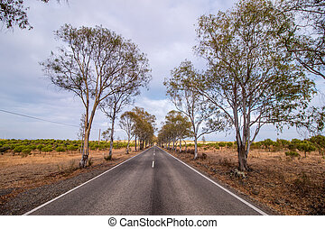 Long asphalt road on the beautiful countryside.