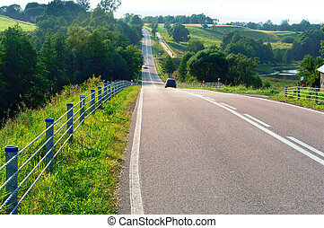 long asphalt road, stretching road to travel