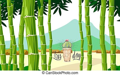 long bamboo tree with small plants on tree day