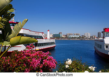 Long Beach California skyline from flowers port - Long Beach...