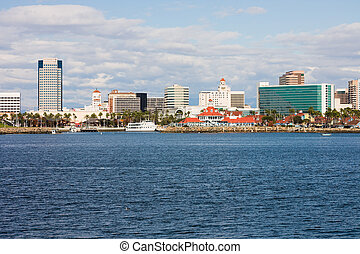 Long Beach California - Skyscrapers along the water in Long...