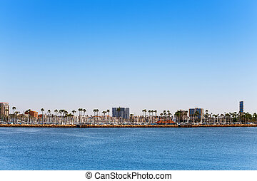 Long Beach marina and cityscape, view from the sea