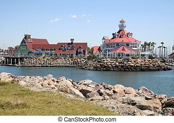 Long Beach Pier - pier in the harbor at Long Beach,...