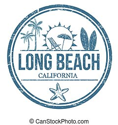 Long Beach sign or stamp on white background, vector...