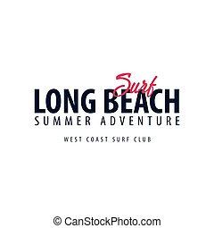 Long Beach Surfing emblem or logo. Vector illustration.