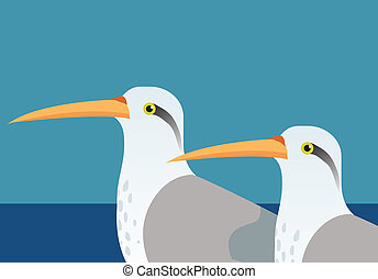 an illustration of two tropical long beaked birds