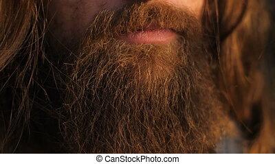Long beard and hair man - Closeup of long beard and mustache...