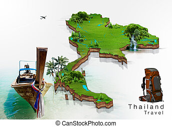 long boat and island map Thailand
