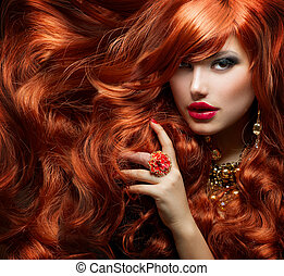 long, bouclé, rouges, hair., mode, portrait femme