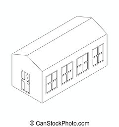 Long building icon, isometric 3d style