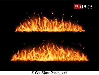 Long burning fire tongues, realistic vector flame with particles, flying sparks and embers. Burning blaze effect, glowing shining flare border, isolated 3d fire design element on black background