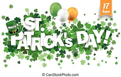 Long Card Hat Shamrocks Happy St Patricks Day Balloons - ...