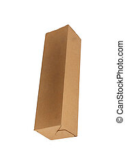 Long carton box isolated on white