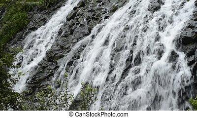 long, chute eau, accidenté, rocher