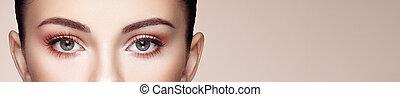 long, cils, oeil femelle, faux