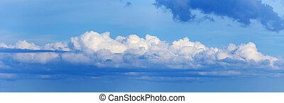 Long cloud in sky - panoramic photo