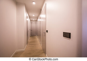 Long corridor in office building