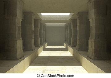 Long corridor of pillars in temple ruins