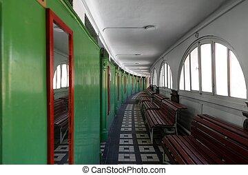 Long corridor point of view shot - Long and large corridor ...