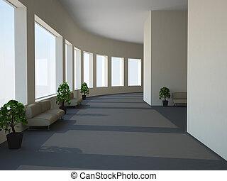 Long corridor  - A long corridor with benchs and plants