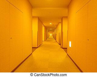 Long corridor with warm light