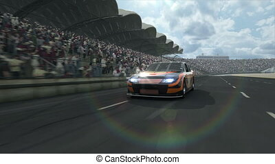 long, course, piste, voiture