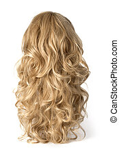 long curly blond wig on a white background