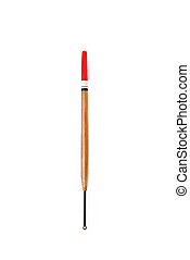 Long cylindrical fishing float for fishing with a fishing rod on a white background