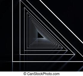 Long dark corridor interior. 3D illustration