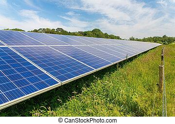 Long diagonal row of blue solar panels