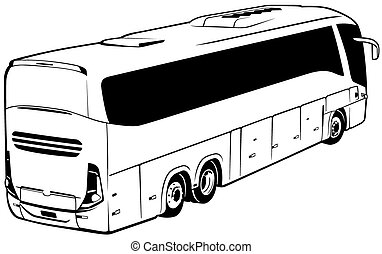 Long-distance bus - Black Outlined Illustration, Vector