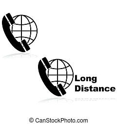 Icons showing a telephone in front of a globe, indicating long distance calls