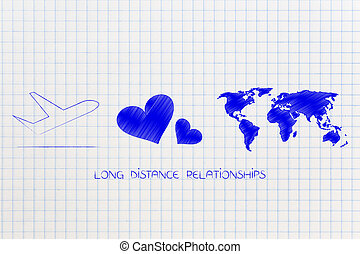 long distance relationship airplane with lovehearts and world map