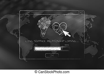 long distance relationship pop-up with love-themed icons loading above world map