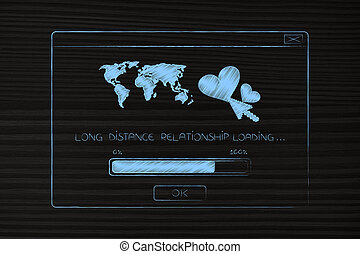 long distance relationship pop-up with lovehearts and worldmap with text loading