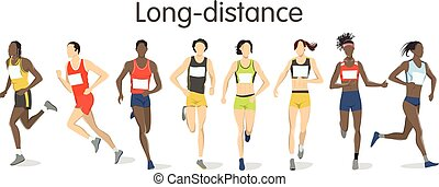 Long distance runners. Isolated athletes in sport outfit on white background.