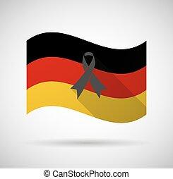 long, drapeau, noir, allemagne, ombre, ruban