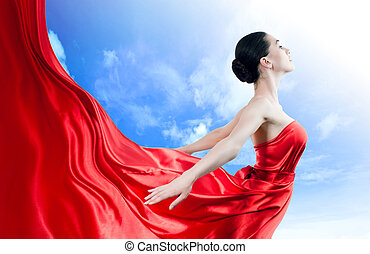 long dress - beautiful young woman in red long dress