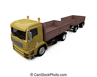 long dump truck on white background