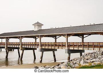 Long Empty Pier in Winter