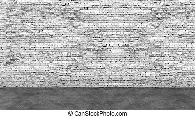 Long empty white brick wall and foreground - Texture of long...