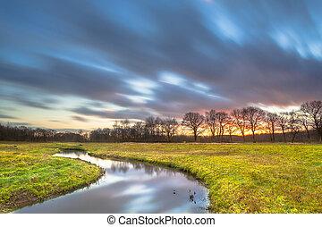 Long Exposue Sunset over River Landscape
