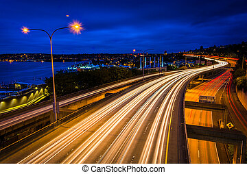 Long exposure at night of I-5, seen from Lakeview Boulevard,...