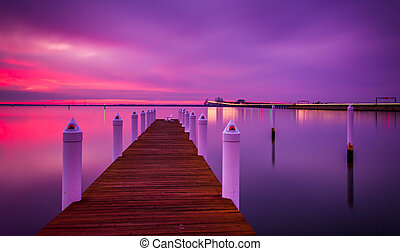 Long exposure at sunset of a pier and the Chesapeake Bay...