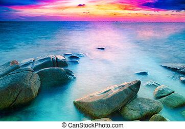 long exposure , Beautiful seascape sunset or sunrise at the...