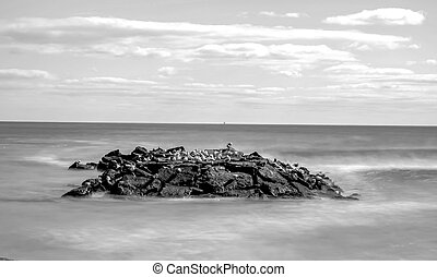 Long exposure black and white daytime stock photo of rocks off the shoreline of beach in Spring Lake, New Jersey on sunny morning.