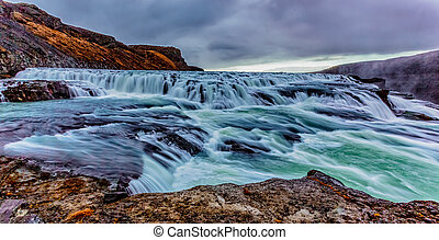 Gullfoss waterfall in Iceland - Long exposure (blurred) or...