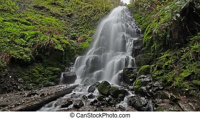 Long exposure Fairy Falls in Oregon - High definition movie...