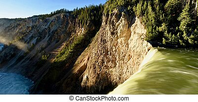Long exposure from the brink of the Lower Falls of Yellowstone